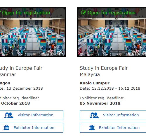 #StudyInEurope 2018 – Ferias Europea
