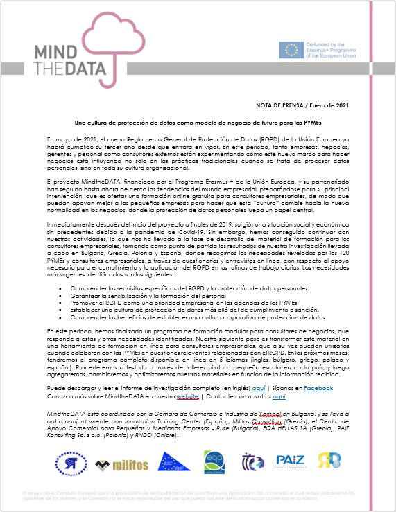 MindTheDATA_Press Release 1_ES